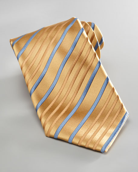 Striped Tie, Blue/Gold