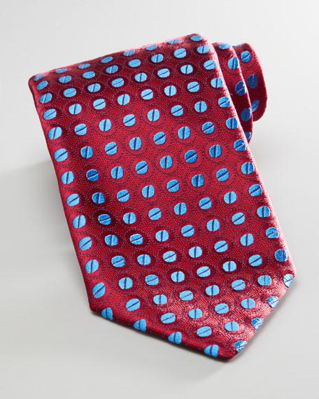 Beans Silk Tie, Burgundy/Blue