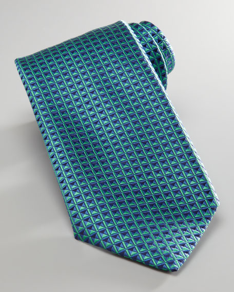 Geometric-Print Tie, Green/Blue