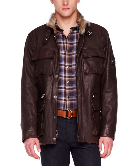 Fur-Lined Leather Utility Jacket