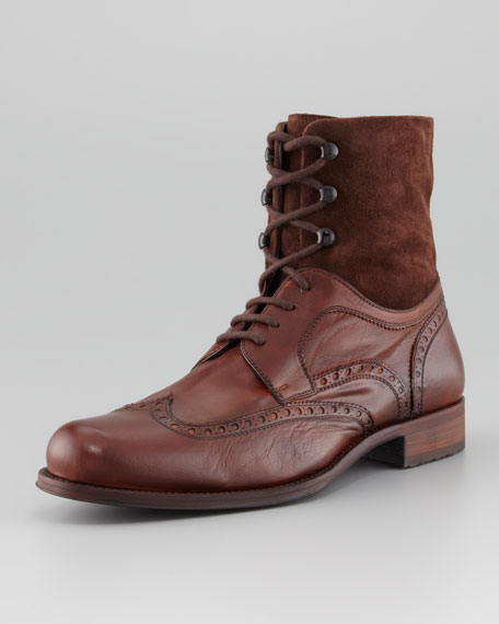 Suede-Shaft Wing-Tip Boot