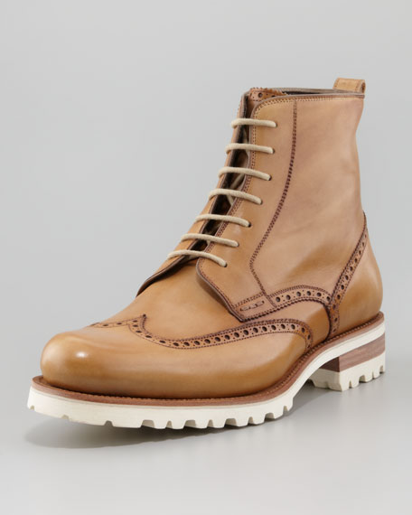 Lug-Sole Wing-Tip Brogue Boot