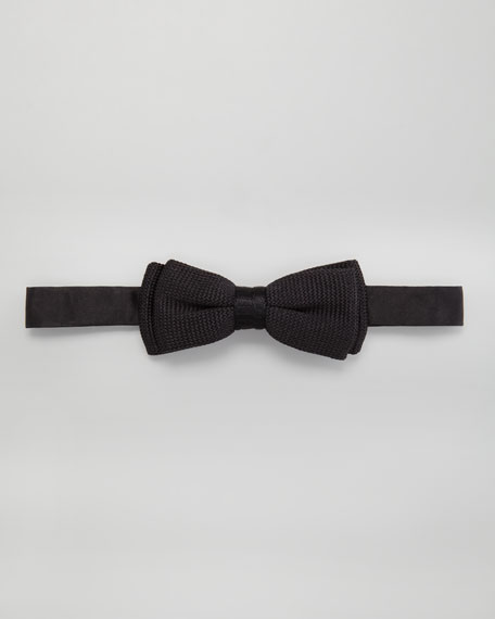 Textured Silk Bow Tie, Black