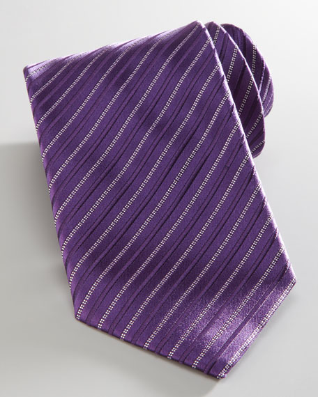 Tonal-Stripe Tie, Purple