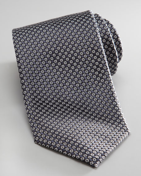 Woven Small Check Tie, Gray