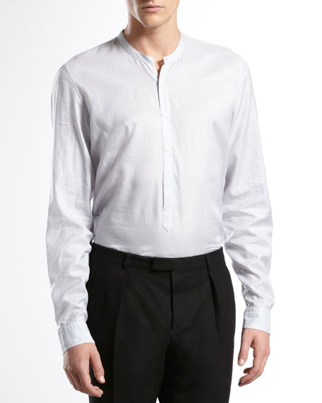 Twill-Stripe Slim Washed Shirt