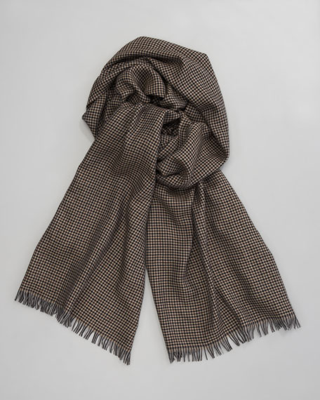 Houndstooth Cashmere-Silk Scarf, Brown