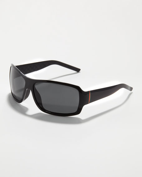 Web-Temple Rectangular Sunglasses