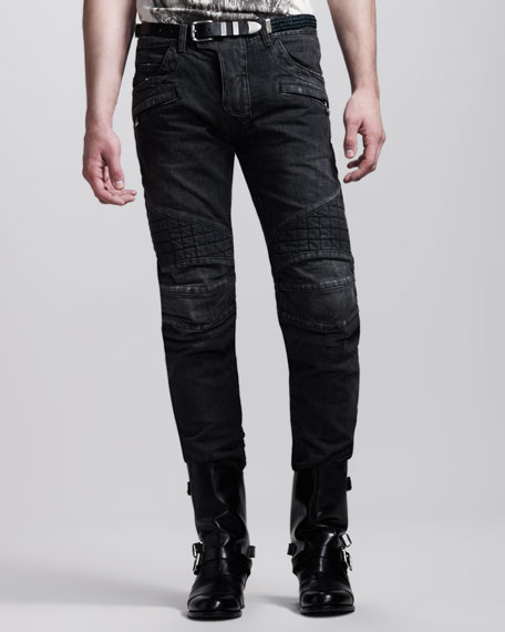 Quilted Biker Jeans