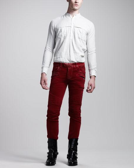 Quilted Velvet Biker Pants