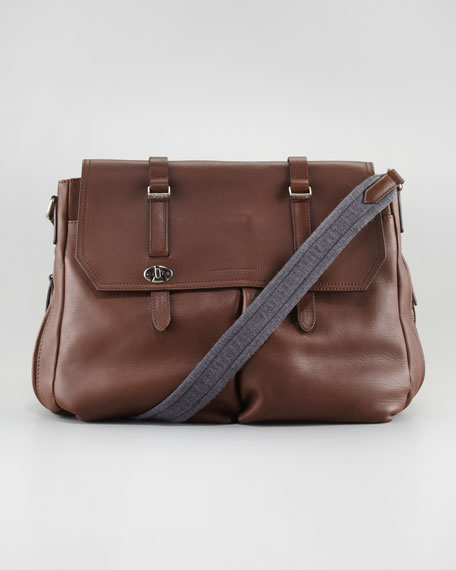 Contrast-Strap Leather Messenger Bag