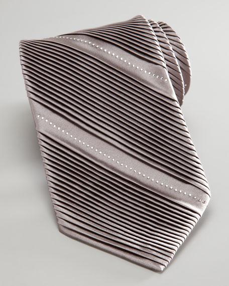 Pleated Crystal-Detailed Tie, Platinum