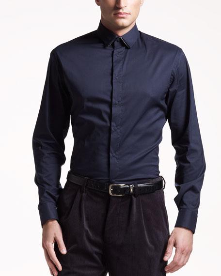 Layered-Collar Sport Shirt