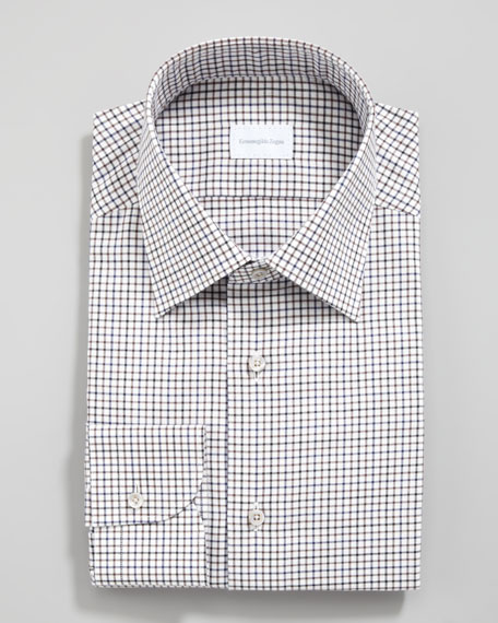 Check Dress Shirt, Brown/Navy
