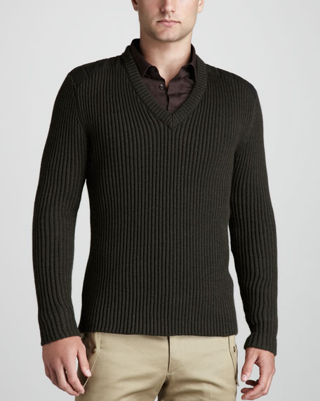 Branford V-Neck Ribbed Sweater