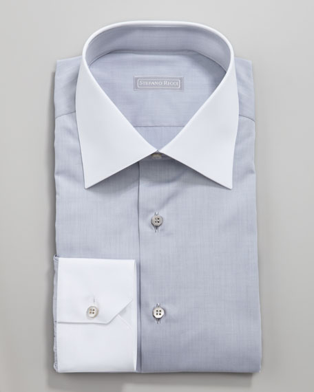 Contrast Collar Button-Down Shirt