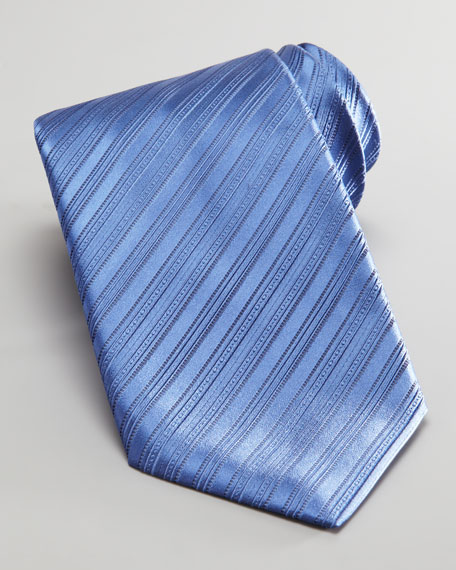 Tonal Bias Stripe Silk Tie, Blue