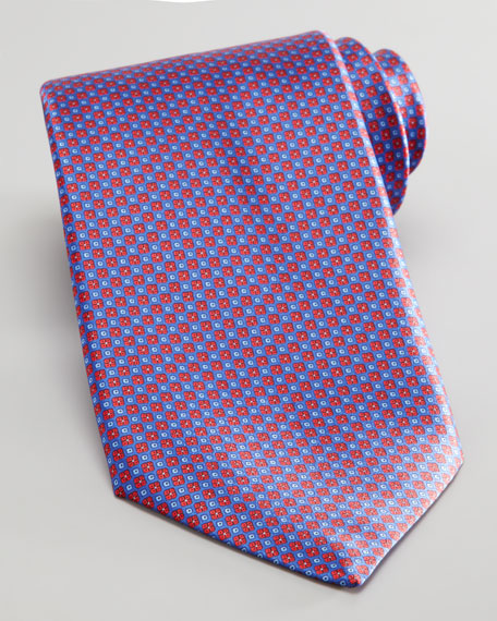 Mini Flower Silk Tie, Red