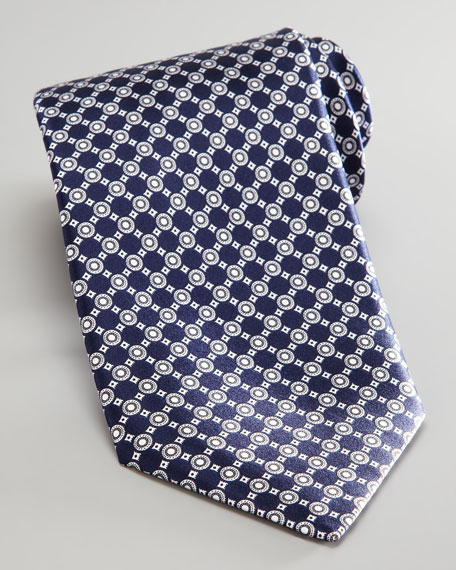 Diagonal Circles Tie, Navy/White