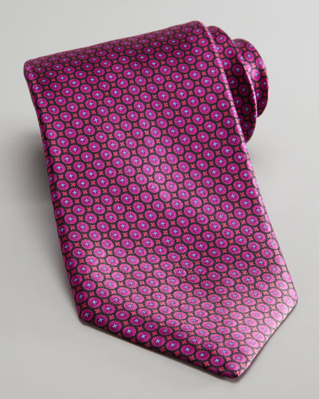 Circle Neat Silk Tie, Fuchsia