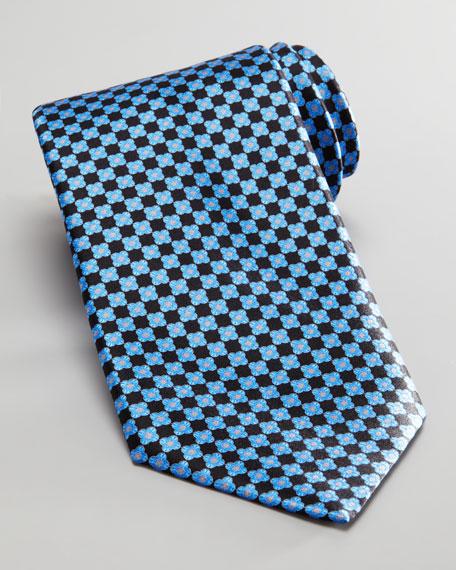 Flower Silk Tie, Black/Blue