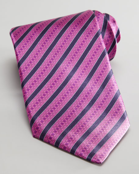Mixed Stripe Silk Tie, Fuchsia
