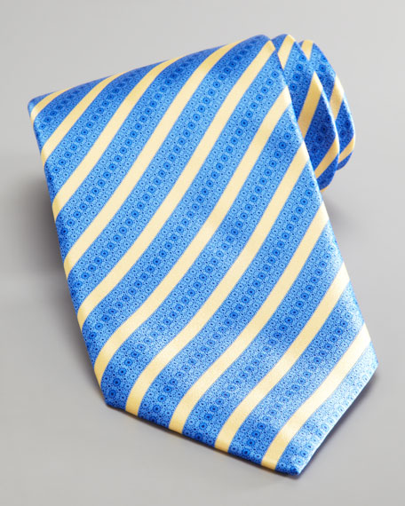 Mixed Stripe Silk Tie, Blue/Yellow