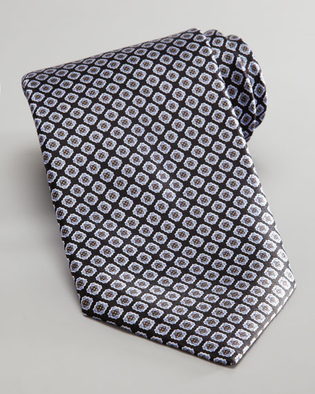 Square Silk Tie, Black/Gray