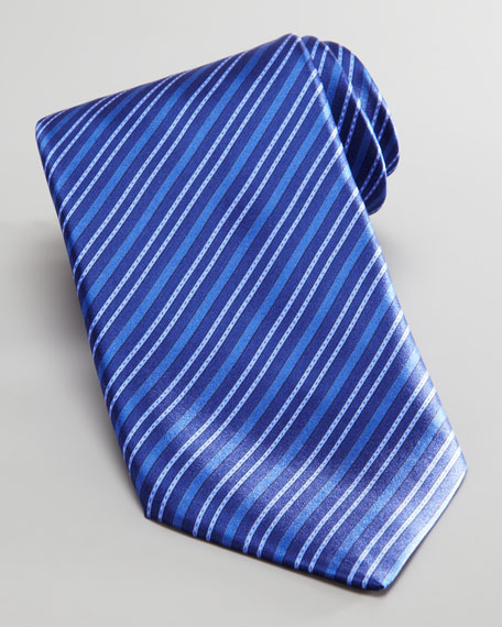 Tonal Stripe Silk Tie, Blue
