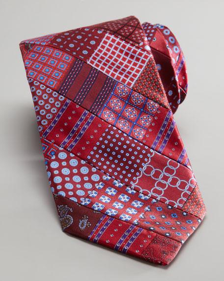 Patchwork Woven Silk Tie, Maroon/Navy