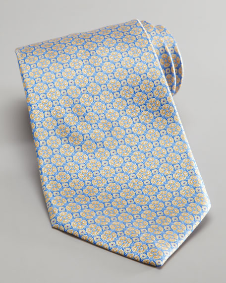 Medallion Silk Tie, Light Blue/Yellow