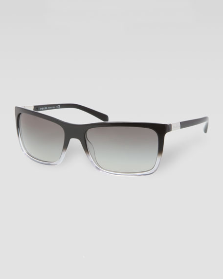 Square Plastic Sunglasses, Gray Gradient