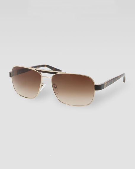 Metal Navigator Sunglasses, Gold