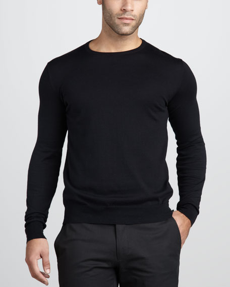Cotton Crewneck Sweater, Black