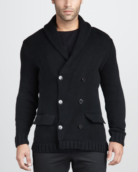 Double-Breasted Sweater Jacket