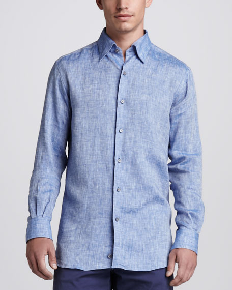 Linen Sport Shirt, Hi Blue