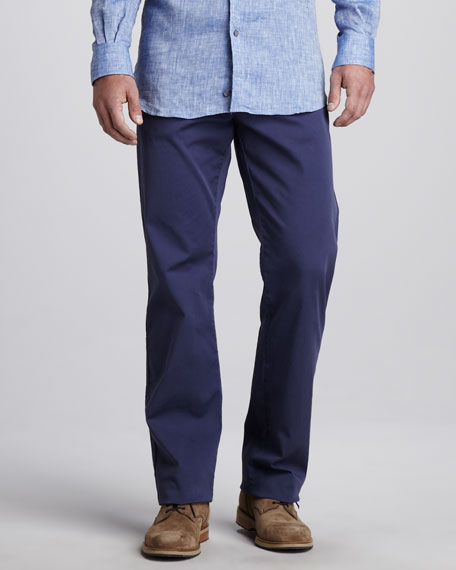 Stretch-Twill Five-Pocket Pants, American Navy
