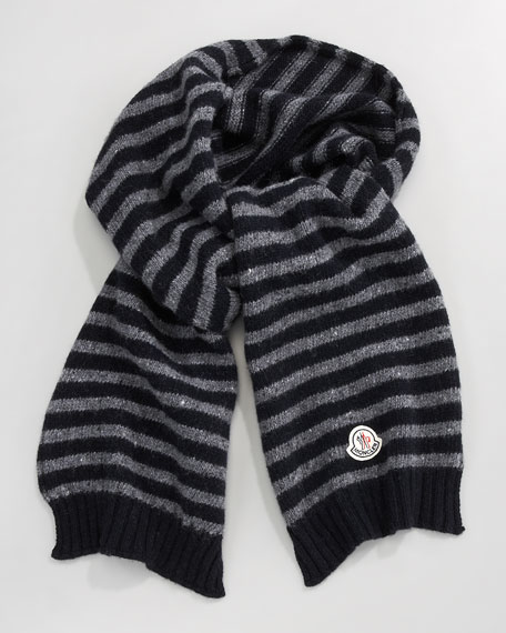 Striped Scarf, Gray/Navy