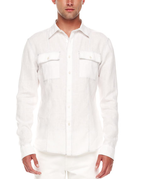 Contrast-Stitch Linen Shirt, White