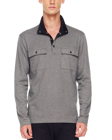 Two-Pocket Jersey Pullover, Ash Melange