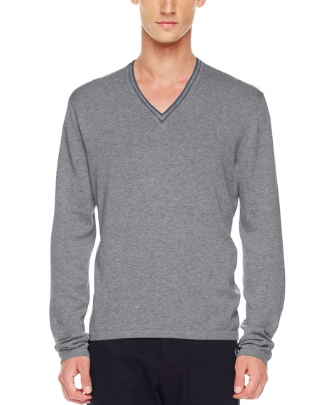 Tipped V-Neck Sweater, Ash Melange