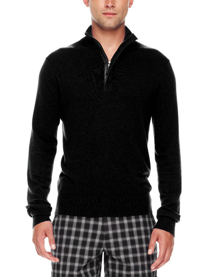 Leather-Trim Half-Zip Sweater, Black