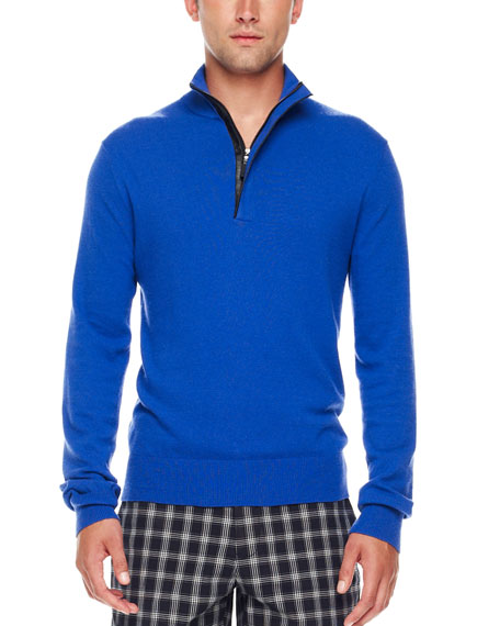 Leather-Trim Half-Zip Sweater, Royal