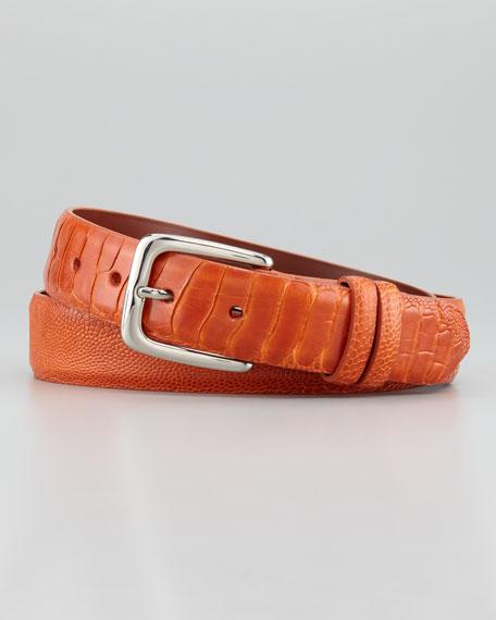 """1 1/4"""" Ostrich Leg Belt, Orange"""