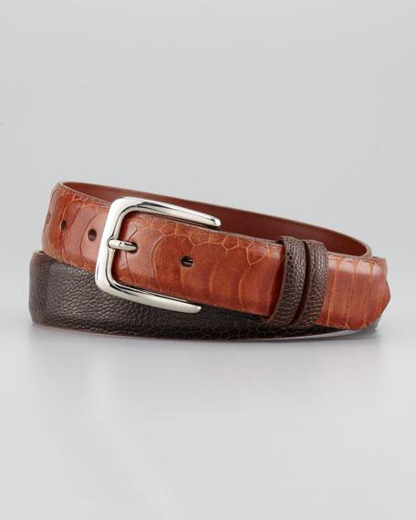 """1 1/4"""" Ostrich Leg Belt, Cognac"""