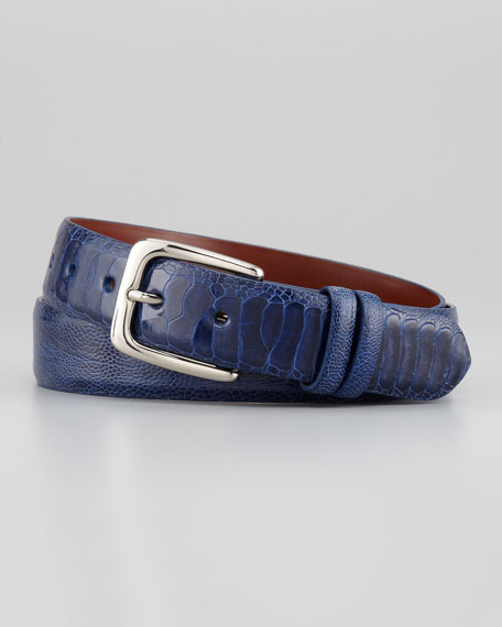 "1 1/4"" Ostrich Leg Belt, Pacific Blue"