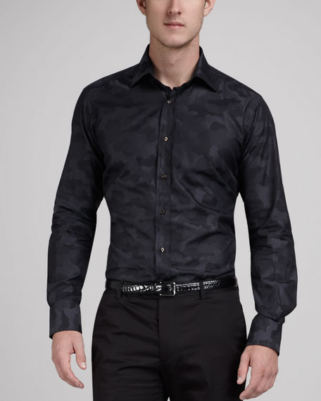 Camo-Print Sport Shirt