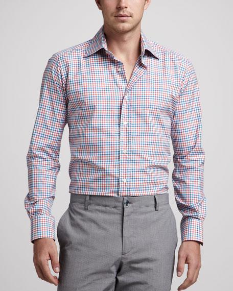 Check Sport Shirt, Orange/Blue