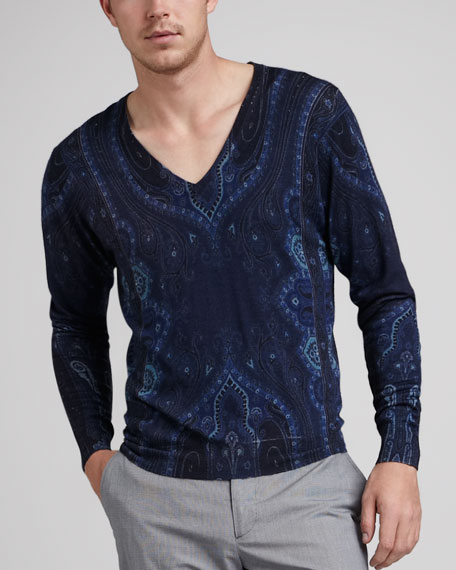 Paisley V-Neck Sweater