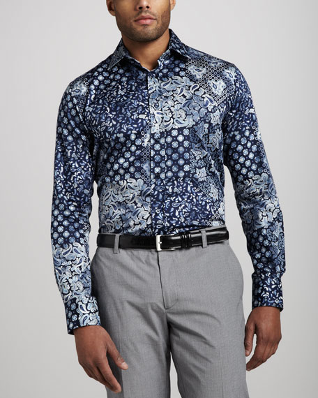 Paisley Sport Shirt, Blue